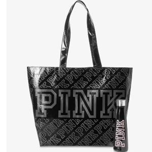 PINK black tote and water bottle